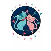 Carte découpée au laser Chats amoureux rose et bleu