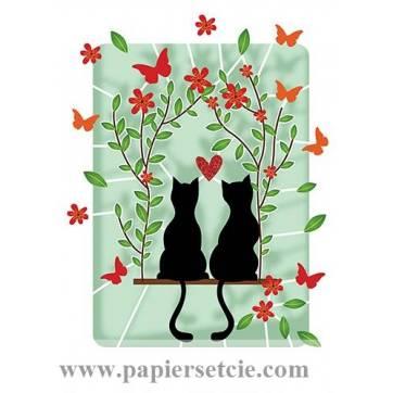 Carte découpée au laser Chats amoureux et Papillons rouges