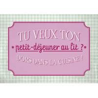 """Carte Humour Vintage """"Tu veux ton petit Dejeuner au lit?"""""""