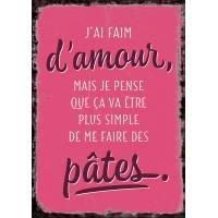 """Carte Humour Vintage  """"J'ai faim d'Amour..."""""""