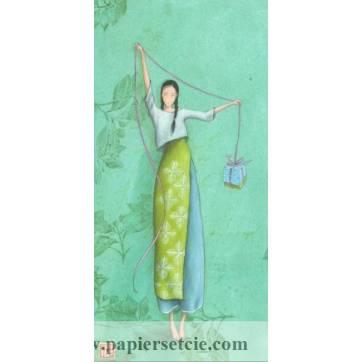 Carte double Gaelle Boissonnard  21 x 10,5 Le cadeau bleu