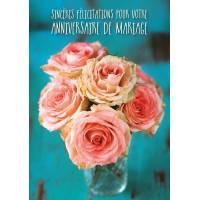 Carte Sincères Félicitations pour votre Anniversaire de Mariage