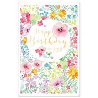 Carte double Happy Birthday Fleurs Aquarelle
