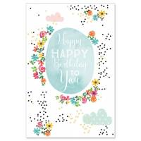 "Carte double ""Happy Birthday to You"" fleuri"