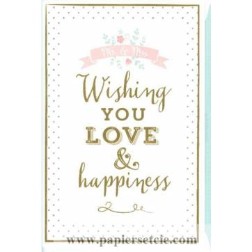Carte double Mr & Mrs Wishing you Love & Happiness