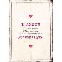 """Carte Humour Vintage """"L'Amour n'a pas besoin d'être parfait, il doit seulement être authentique"""""""