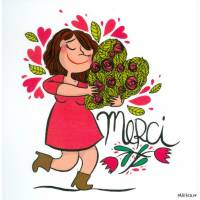 "Carte Mathou ""Merci avec des Fleurs"""