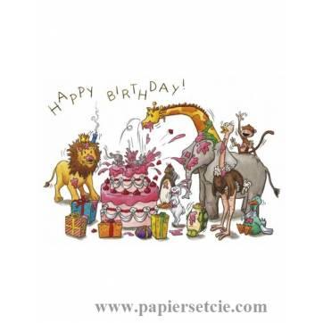 Carte Sophie Turrel 10,5 x 15 Happy Birthday Le Gateau