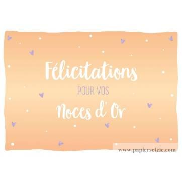 Carte Félicitations pour vos Noces d'Or