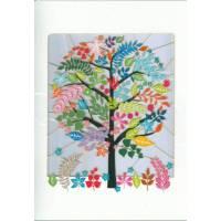 Carte découpée au laser L'arbre multicolore