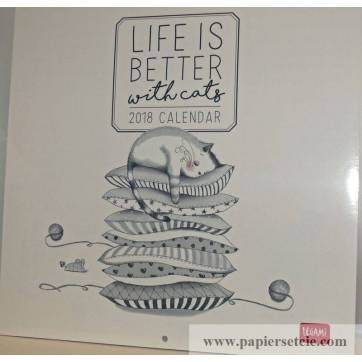 "Calendrier 2018 LEGAMI 30 x 30 ""Life is better with cats"""