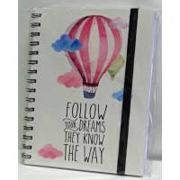 "Cahier LEGAMI A5 à spirales ""Follow your Dreams"""