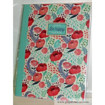 "Cahier LEGAMI A5 ""Be Happy"" Coquelicots"