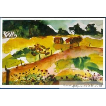 Carte Marion Kerignard Belle Ile Automne dans champ de blé