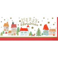 "Carte double ""Merry Christmas"" Village, chat et chien"