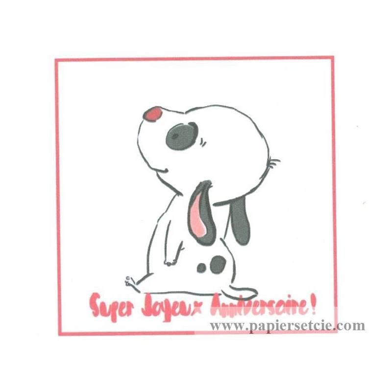 Carte Artisanale Simple Chiot Noir Et Blanc Super Joyeux Anniversaire