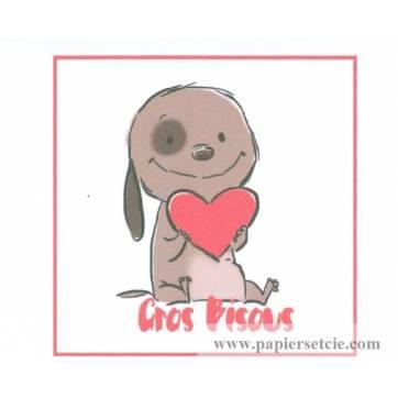 """Carte artisanale simple Chiot et coeur """"Gros Bisous"""""""