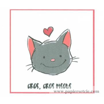 "Carte artisanale simple Chaton "" Gros Gros Bisous"""
