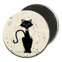 Magnet rond Chat au collier bleu