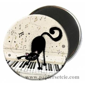Magnet rond Chat au piano