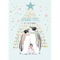 Carte double Louise Tiler Joyeuses Fêtes Famille Pingouin