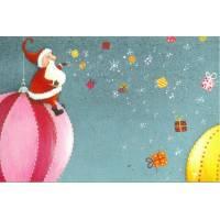 Carte Joyeux Noel Claire Vogel Père Noël sur boule géante