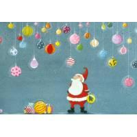 Carte Joyeux Noël Claire Vogel Père Noël et Boules de Noël