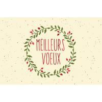 Carte double Meilleurs Voeux Couronne de Noël
