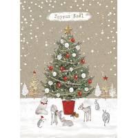 Carte double pailletée Joyeux Noël Le Sapin et les animaux