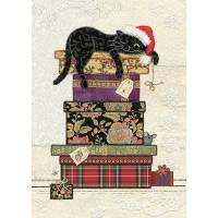Carte double Chat sur pile de cadeaux
