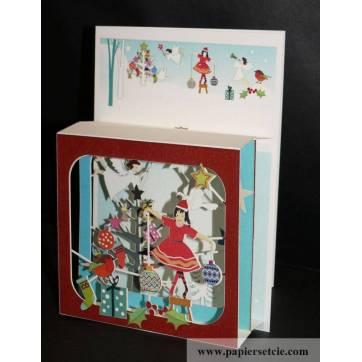 """Carte anglaise 3D laser """"Petite boite"""" Danseuse en Père Noël"""