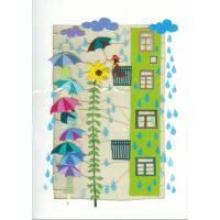 Carte découpée au laser Fleur soleil et parapluies