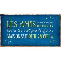 """Pancarte Panneau de Porte vintage """"Les amis sont comme les étoiles..."""""""