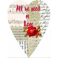 Carte artisanale Vintage Coeur All we need is Love rouge
