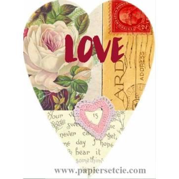 Carte artisanale Vintage Coeur Love Fleur rose