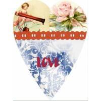 Carte artisanale Vintage Coeur Love rouge
