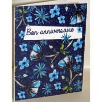 """Carte à planter Hannah Marchant """"Bon Anniversaire"""", fleurs bleues, graines Fleurs des champs"""