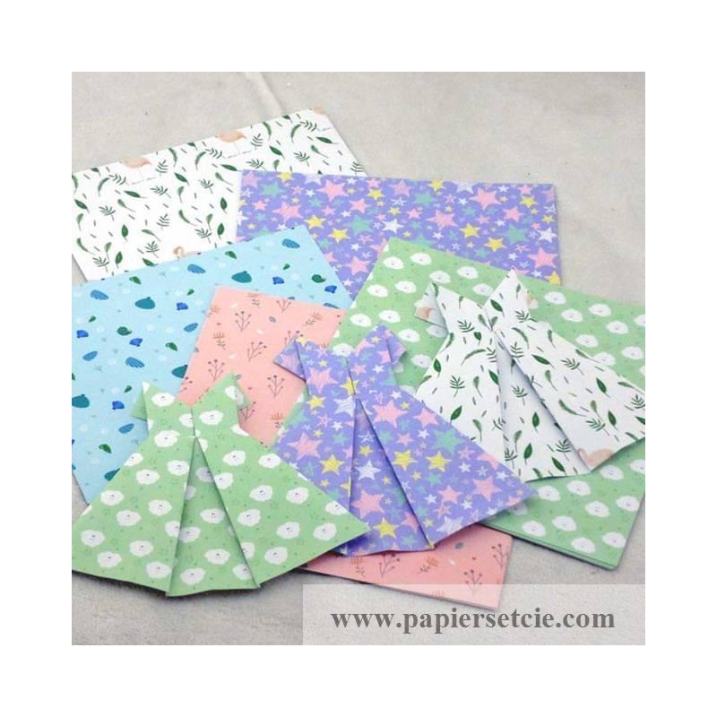 papier origami japonais feuilles motif fleurs toiles. Black Bedroom Furniture Sets. Home Design Ideas