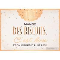 """Carte Citation Humour Vintage """"Si tu te fais engueuler mange des biscuits..."""""""