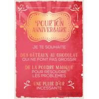 """Carte Citation Humour Vintage """"Pour ton Anniversaire je te souhaite""""..."""