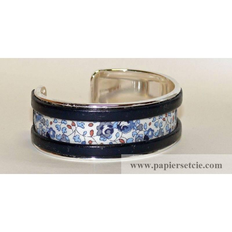 Bracelet manchette en laiton argent 2 cm tissu liberty elo se bleu - Tissu pour bracelet liberty ...