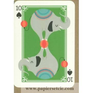 Carte anglaise double, série carte à jouer Joker Elephants