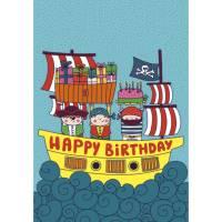 Carte Laetitia Haas  Happy Birthday Les Pirates