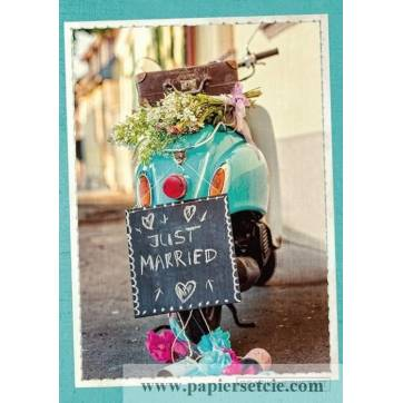 """Carte double Félicitations Mariage """"Just married"""" Vespa rose"""