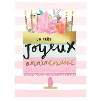 """Carte double Louise Tiler Un très joyeux Anniversaire """"Gateau et Fleurs"""""""