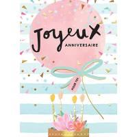 Carte double Louise Tiler Joyeux Anniversaire pour toi Ballon et Fleurs