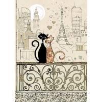 Carte double Chats amoureux sur balcon à PARIS