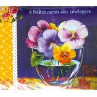 Paquet de 6 petites cartes et enveloppes Fleurs
