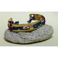 Bracelet Liberty Manchette en laiton doré 1 cm, tissu Liberty Mitsi marine