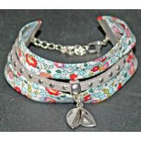 Bracelet Liberty Manchette Biais Liberty Eloïse bleu et rouge